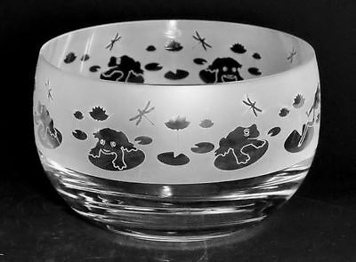 *FROG GIFT* 12cm BOXED CRYSTAL GLASS BOWL with FROG Frieze