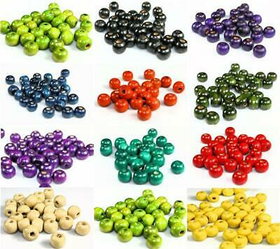 400x6mm / 200x8mm / 100x10mm Wooden Round Wood Beads 12 Colour Choice