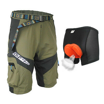 Army Green Cycling Mountain Bike/Bicycle Shorts Half Pants(3D Padded Underwear)E