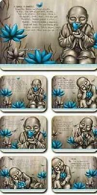 Blue Monk / Buddha From the Soul Placemats x 6 & Coasters x 6 By Lisa Pollock
