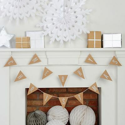 SALE! ginger RAY 'Merry Christmas' Bunting - kraft brown & silver glitter flags