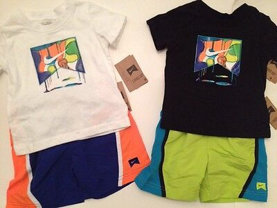 Nike Boys 2-piece Outfit Set Shirt Tee Shorts Size 12 18 24 Months 3T Blue Green