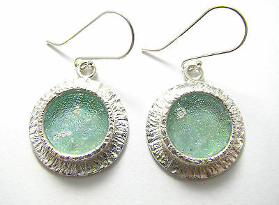 Best Quality Bluish  Ancient Roman Glass 925 Silver Earrings