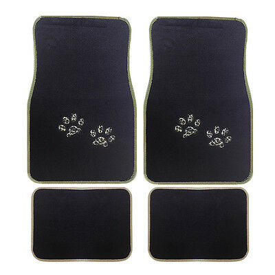 4pc Black Beige Cheetah Print Paw Front Rear Carpet Floor Mats Set New Universal