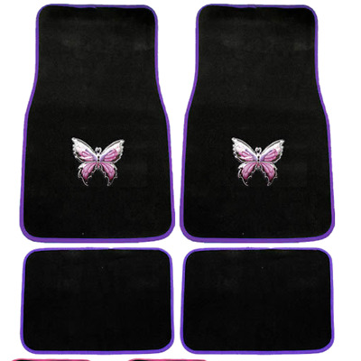 4pc Mystical Butterfly Black Purple Front Rear Carpet Floor Mats Set Universal