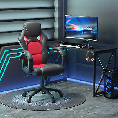 HOMCOM Office Chair Ergonomic Computer Mesh Desk Seat Race Car Styled Black Red