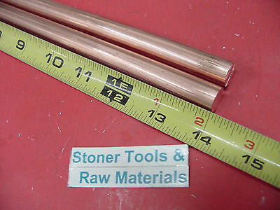 "2 Pieces 1/2"" C110 COPPER ROUND ROD 14"" long H04 Solid CU New Lathe Bar Stock"