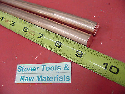 """2 Pieces 1/2"""" C110 COPPER ROUND ROD 9"""" long H04 Solid CU New Lathe Bar Stock"""