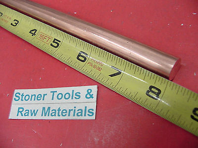 "1/2"" C110 COPPER ROUND ROD 8"" long H04 Solid .50"" OD CU New Lathe Bar Stock"