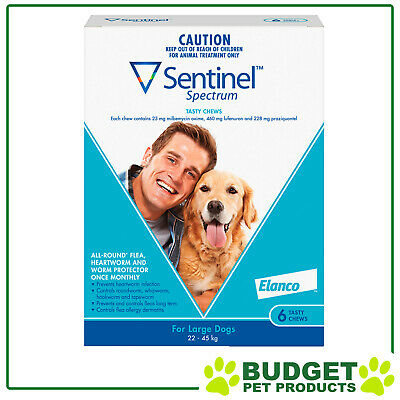 EXP: 11/18 - Sentinel Spectrum For Dogs 22-45kg Blue 6 pack