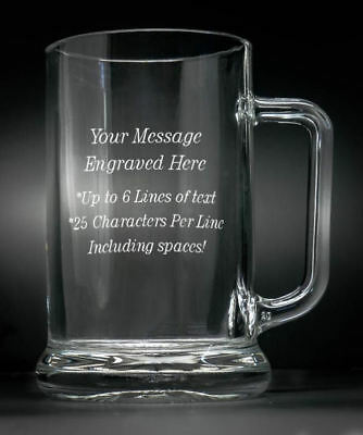 Personalised Giant, 1 Litre 1 Pint Glass Beer Stein Tankard Any Message Engraved