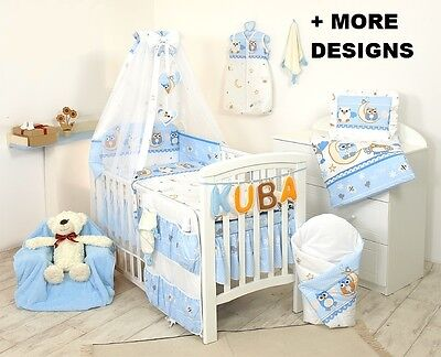 Boy Owl Pattern Bedding Set Cot & Cot Bed 3,4,5,7 Pcs Pillow, Duvet,bumper +More