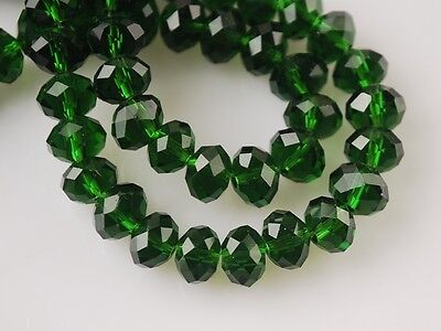 100pcs 6mm Faceted Rondelle Loose Spacer Crystal Glass Beads Dark Green