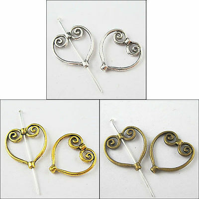 40pcs Lots New Silver/Gold/Bronze Tone Heart Wing Frame Spacer Beads for Craft