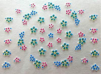 Nail art: Stickers autocollants bijoux d'ongles mode - Fleurs multicolores