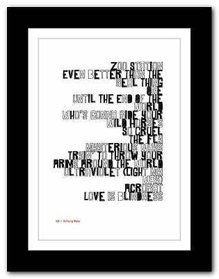 ❤  U2 -  Achtung Baby ❤ typography poster art print - A3 A2 A1 A4