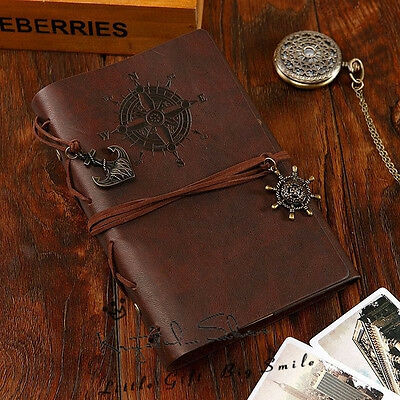 "7""x5"" Vintage Style Leather Cover Notebook Journal Diary Blank String Nautical"