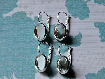 5 pairs (10 pcs) x silver plated drop lever back earrings - suit 12mm cabochons
