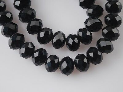 Wholesale 200pc 3x4mm Faceted Rondelle Loose Spacer Crystal Glass Beads Black