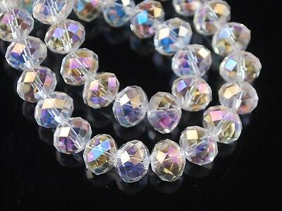 200pcs Wholesale 4mm Faceted Rondelle Loose Spacer Crystal Glass Beads Clear AB