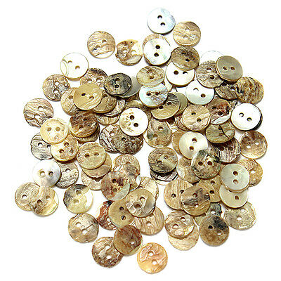 100Pcs Sewing Buttons Neutrals Mother of Pearl Round Shell Buttons (8~20mm)