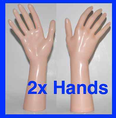 2x Gloss Skin Tone Plastic Mannequin Display Hands Brand New