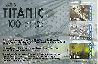 The Gambia 2012 MNH Titanic 100th Anniv 3v M/S Iceberg Sinking Ships Boats