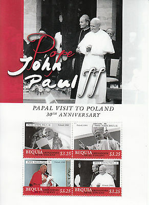 Bequia Grenadines St Vincent 2013 MNH Pope John Paul II 4v M/S Popes Catholic