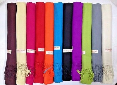 Lot of 12 NEW Soft Silk Pashmina Wholesale Cashmere Shawl scarf Stole Wrap Women