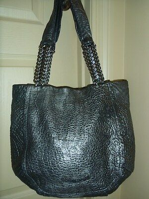 Pre-owned  Authentic Jimmy Choo Nica Large Pebbled Leather Chainlink Tote bag