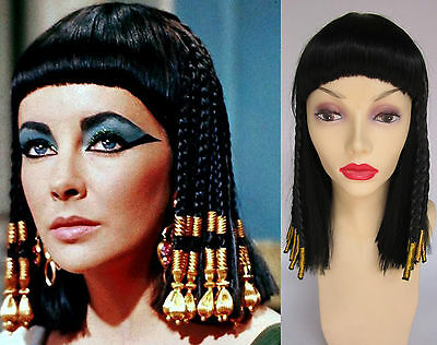 Deluxe Cleopatra Egyptian Queen Black Gold Braided Midi Length Costume Wig