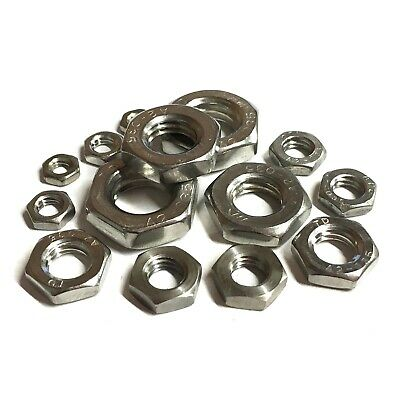 M10 / 10mm Metric FINE PITCH HALF Nuts - A2 Stainless Steel - Lock Thin DIN 439