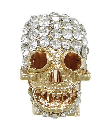 Rhinestone Studded Gold Tone Paracord Skull Beads - GIVE IT SOME BLING