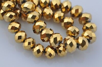HOT 50pcs 10mm Rondelle Faceted Loose Spacer Glass Beads Gold Plated Bulk