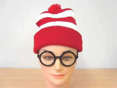 Red/White Stripe Wendy Waldo Wally Beanie Hat & Glasses Fancy Dress