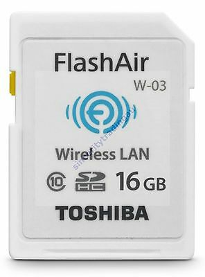 Toshiba SDHC FlashAir C10 Wifi 16GB Wireless Memory Card SD HC SD-R016GR7AL01 A