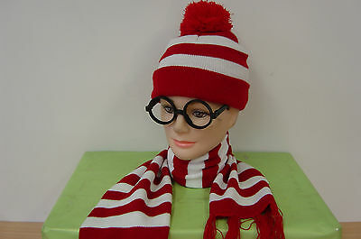 Red/White Stripe Wheres Wanda Waldo Wally Beanie Hat & Scarfe & Glasses Bookweek
