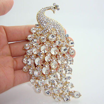"""4.33""""H-Quality Clear Peacock Brooch Pin Rhinestone Crystal Popular Jewelry Party"""