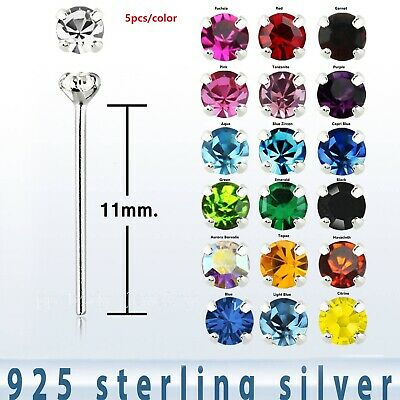 5pcs. 22G (0.6mm) 1.5mm C.Z. Prong Set .925 Sterling Silver Straight Nose Stud