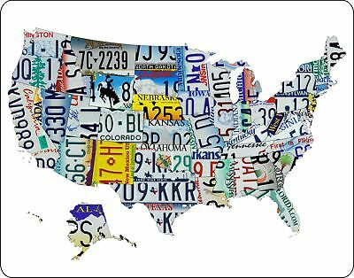 "License Plate Art Map of the U.S. 11""x14"" metal sign #2"
