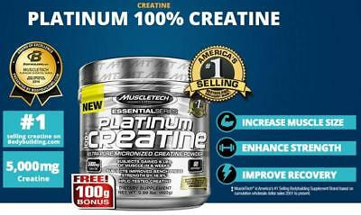 MuscleTech PLATINUM 100% CREATINE Micronized Powder 5g 80 Servings UNFLAVORED