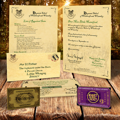 Harry Potter PERSONALISED HOGWARTS ACCEPTANCE LETTER PLUS FREE EXPRESS TICKET