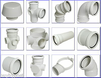 White Soil Pipe and Ring Seal Fittings UPVC 110mm External Or Internal Use