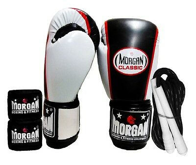 Morgan Classic Boxing Gloves Skipping Jump Rope Hand Wraps Pack Mixed Color Gym
