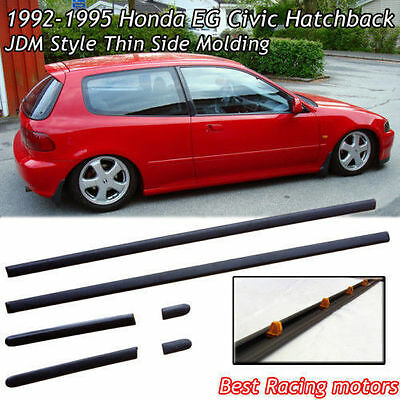 92-95 Civic 3dr Hatch Thin Side Door Molding (ABS)