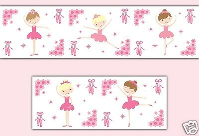 Pink Ballerina Wallpaper Border Wall Decals Baby Girl Nursery Ballet Dance Decor
