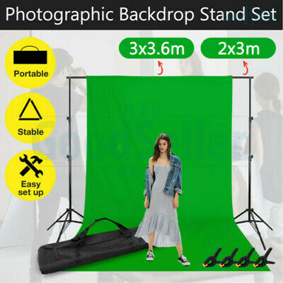 Chroma Key Green Black White Grey 4 Backdrops Photography Background Stand Kit