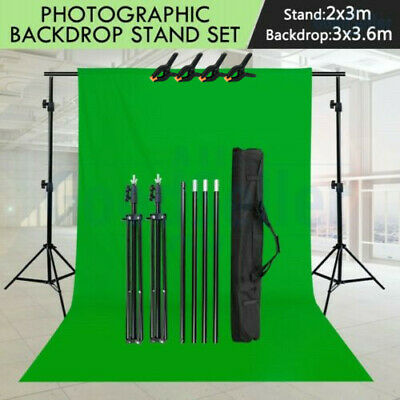 Photography Studio 3 Backdrops Photo Video Lighting Background Support Stand Kit