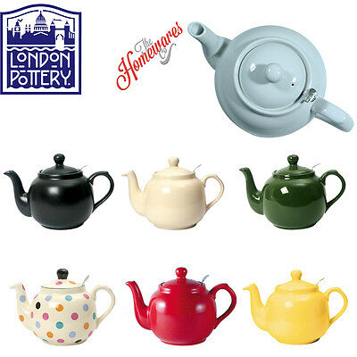 London Pottery UK British Design Farmhouse Filter Teapot In  2, 4, 6, 10 Cup In