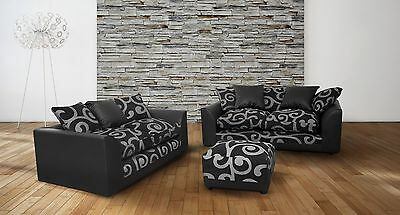New Zina Swirl 2+3, 3+3 Seater Fabric Sofa with Matching Armchair or Footstool